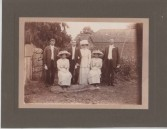 VJA558 Wedding of Margaret Swain and Ernest Clarke at Pond Farm, Seavington St Michael. Margaret was born 1885c, the daughter of Sealey Swain born 1861c.  He was a coachman lodging in Silver Street, Ilminster on 1901 census.  Also in photo is Mark Swain born 1883.  The bridesmaids are Bessie and Kate Stuckey born 1890c. The older man could be the Bride's father Sealey Stuckey born 1861.