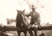 AGI286 Grandad Gillingham with 'Short'- a horse who had fought in the 1st WW