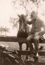 AGI287 Grandad Gillingham with 'Short'- a horse he brought back from WW1