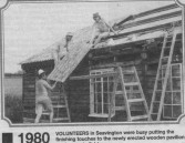 C&I262 1980 Mending roof of the Pavilion  Peter Ash and Tony Tolman - believed to be taken from the Chard & Ilminster News