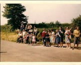 ASH013 1966 awaiting the Queen at Fouts Lne Crossroads  Ivy Ash, Dorothy Ash, Mrs Shire, Peter Ash, Mrs Bayliss, Gilbert Vaux, Mrs G Rowsell, Mary Shire