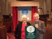 SWM370 November 2009 Elaine Nelson & Stuart Stanton at the Blue Plaque ceremony at St. Margaret's Church Aberaman