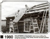 MHA412 1980 Finishing the roof on the wooden Pavilion on Seavington Playing Fields