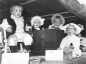 PPR384 1980 Seavington Children Float Ilminster Carnival Little Jack Horner - Daniel Bonning, RubaDub Dub Three men in a Tub - Candlestick Maker - Justin Parsons, Butcher - Paul Bonning, Baker - John Male