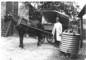 MP141 Francis Warry of Pond Farm with his butchers cart -